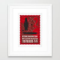 battlestar galactica Framed Art Prints featuring Beyond imagination: Battlestar Galactica postage stamp  by Chungkong