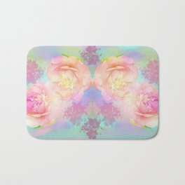 Romantic Camellia's and Lillies with a pastel background Bath Mat