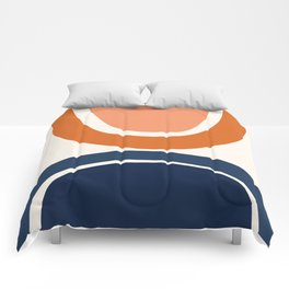 Abstract Shapes 7 in Burnt Orange and Navy Blue Comforters