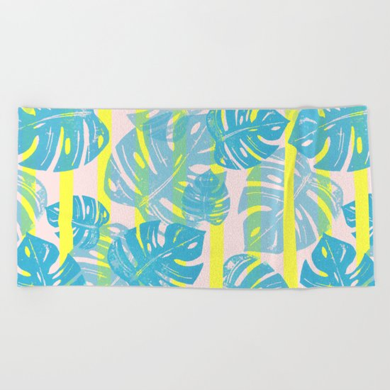 Linocut Monstera Neon Beach Towel