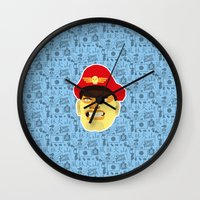 street fighter Wall Clocks featuring Bison - Street Fighter by Kuki