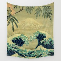 blanket Wall Tapestries featuring The Great Blue Embrace at Yama by Kijiermono