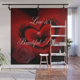Romantic red heart, rose and text design Wall Mural