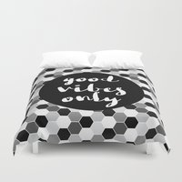 good vibes only Duvet Covers featuring Good Vibes Only - Hexagon by Indulge My Heart