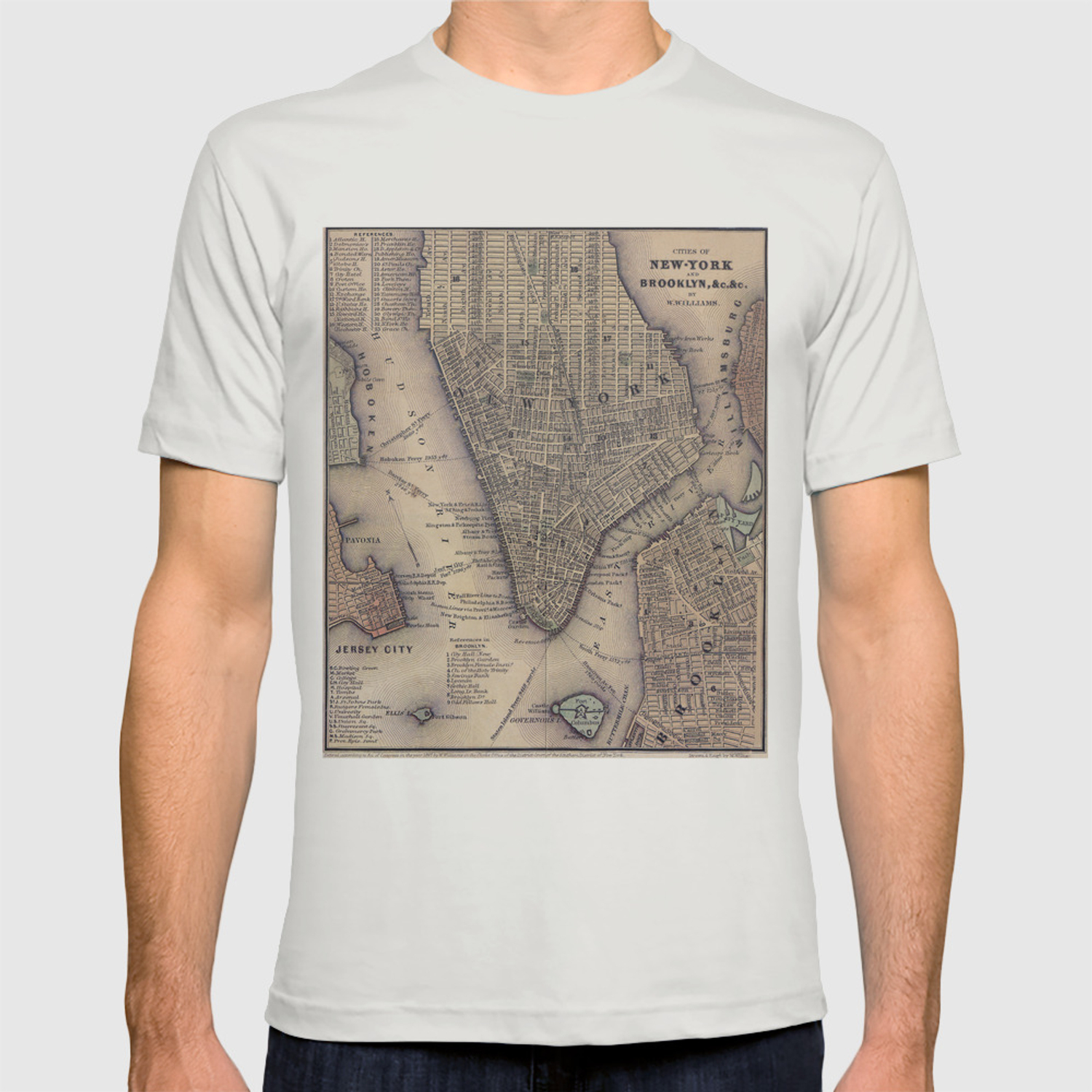 a6309553 Vintage NYC and Brooklyn Map (1847) T-shirt by bravuramedia | Society6