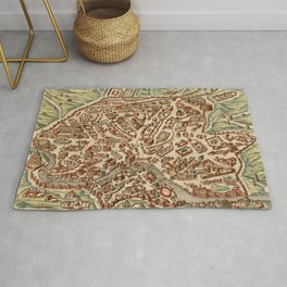 Vintage Map of Rome Italy (1660) Rug