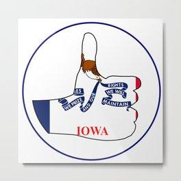 Thumbs Up Iowa Metal Print