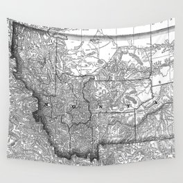 Vintage Map of Montana (1881) BW Wall Tapestry