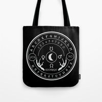 ouija Tote Bags featuring Ouija by ANOMIC DESIGNS