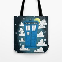 tardis Tote Bags featuring blue box by Matthew Taylor Wilson