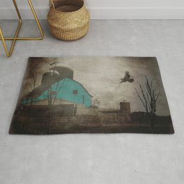 Rustic Teal Barn Country Art A158 Rug