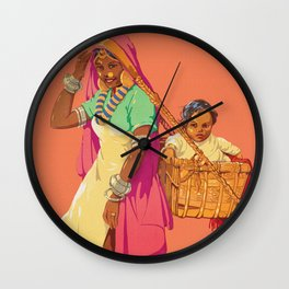 See India - Vintage Travel Poster Wall Clock