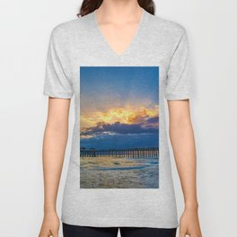 God-rays Over Huntington Beach Pier Unisex V-Neck