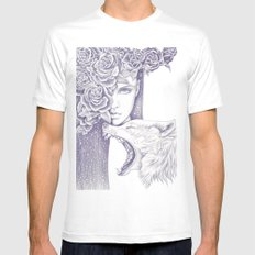 Night Of The Wolf White MEDIUM Mens Fitted Tee