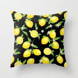 You're the Zest - Lemons on Black Throw Pillow
