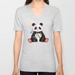 White Panda Watercolors Illustration Unisex V-Neck