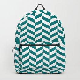 Teal Green Herringbone Pattern Design Backpack
