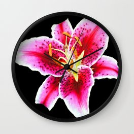 FUCHSIA PINK ASIATIC LILY FLOWER BLACK Wall Clock