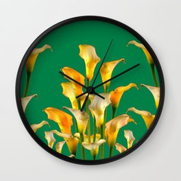 DECORATIVE GREEN ART GOLDEN CALLA LILIES Wall Clock