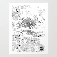 stockholm Art Prints featuring STOCKHOLM by Maps Factory