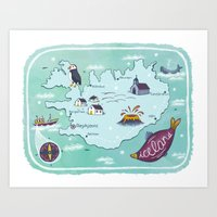 iceland Art Prints featuring Iceland by Laura Wood