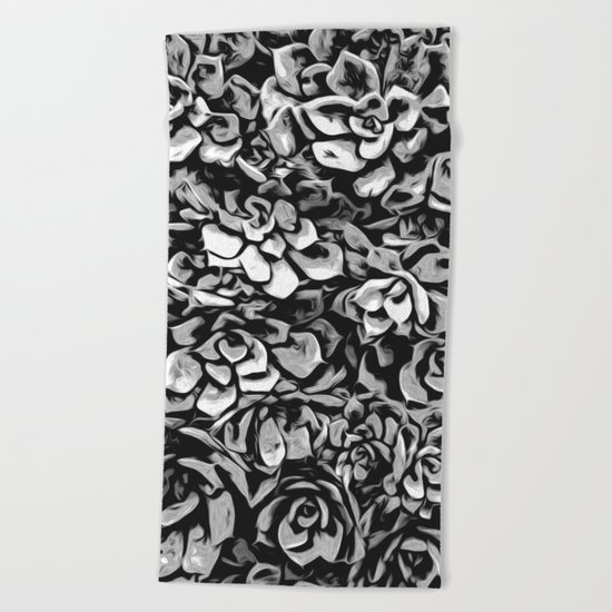 Plants of Black And White Beach Towel