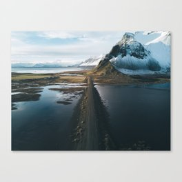 Mountain road in Iceland - Landscape Photography Canvas Print