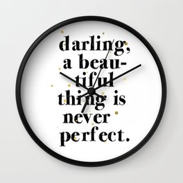 Darling / Poster, scandinavian, art print, drawings, paintings, pattern, illustration, marble, gold Wall Clock