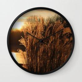 Sunrise in the grass Wall Clock