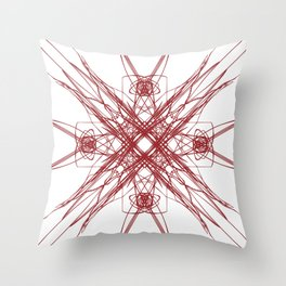 Ethnic M wild  Red on white Throw Pillow