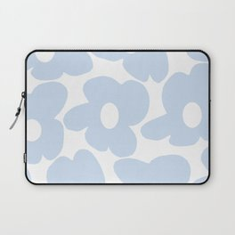 Large Baby Blue Retro Flowers White Background #decor #society6 #buyart Laptop Sleeve