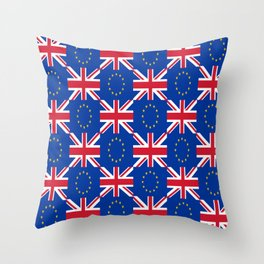 Mix of flag: UE and UK Throw Pillow