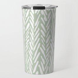 Light green herringbone pattern with cream stripes Travel Mug