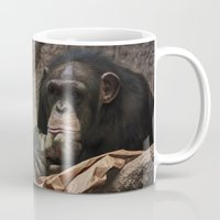 newspaper Mugs featuring bored chimpanzee after reading newspaper by UtArt