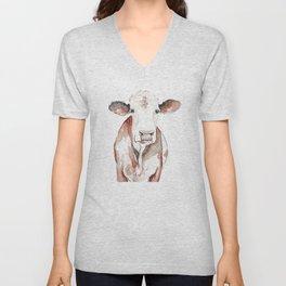 Cow Watercolor Unisex V-Neck