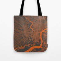 philadelphia Tote Bags featuring Philadelphia 2 by Map Map Maps