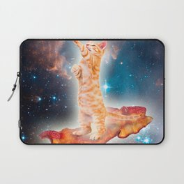 Bacon Surfing Cat in the Universe Laptop Sleeve