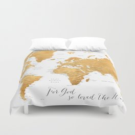 For God so loved the world, world map in gold Duvet Cover