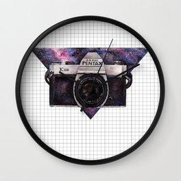 Pentax K1000 (Purple Nebula) Wall Clock