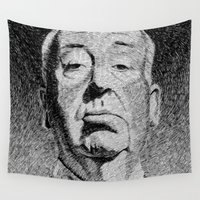 hitchcock Wall Tapestries featuring Fingerprint - Hitchcock by Nicolas Jolly