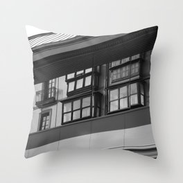 Old reflections on new building. Throw Pillow
