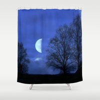 kindle Shower Curtains featuring Moon between Trees  - JUSTART © by JUSTART