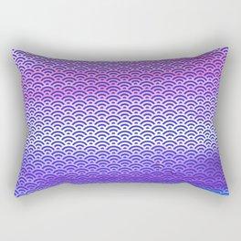Candy Pop/Navy Blue Watercolor Seigaiha Pattern Rectangular Pillow