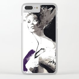 Fashion Painting, Fashion IIlustration, Vogue Portrait, Fashion Beauty, Black and White colours, #10 Clear iPhone Case