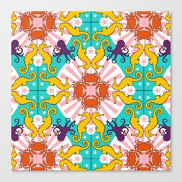 Kaleidoscopic Ocean Animals Canvas Print