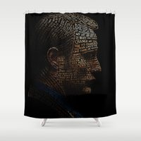 hannibal Shower Curtains featuring Hannibal Typography by 666HUGHES