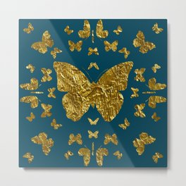 Butterfly kaleidoscope gold Metal Print