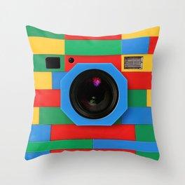 rainbow retro classic vintage camera toys Throw Pillow