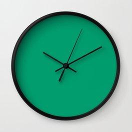 Bold Shamrock Green Solid Color Pairs To Sherwin Williams Jitterbug Jade SW 6987 Wall Clock