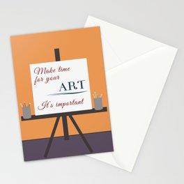 Make Time For Art (Colorful Calligraphy) Stationery Cards